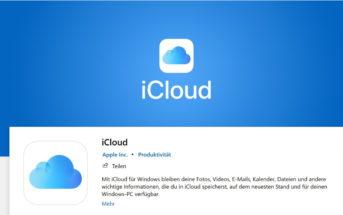 Screenshot der iCloud App Windows 10