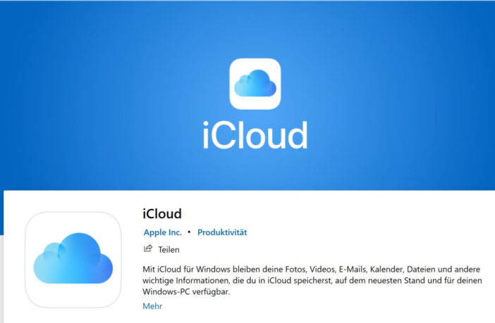 Screenshot der iCloud App Windows 10