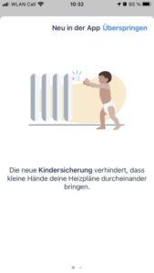 tado Kindersicherung App Hinweis 1