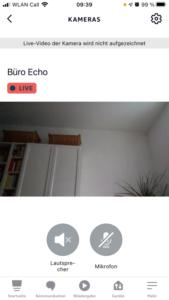 Überwachungsfunktion Kamera Live Stream Alexa App