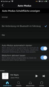 Amazon Music Auto-Modus Einstellungen