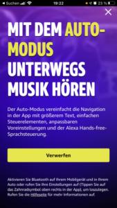 Amazon Music Auto-Modus Hinweis