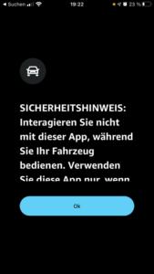 Amazon Music Auto-Modus Sicherheitshinweis