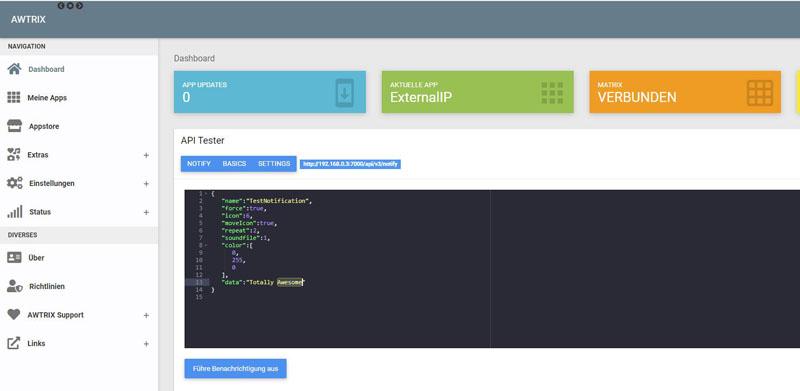 Screenshot Awtrix Host