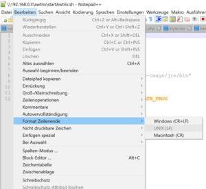 Notepad++ Unix Zeilenumbruch