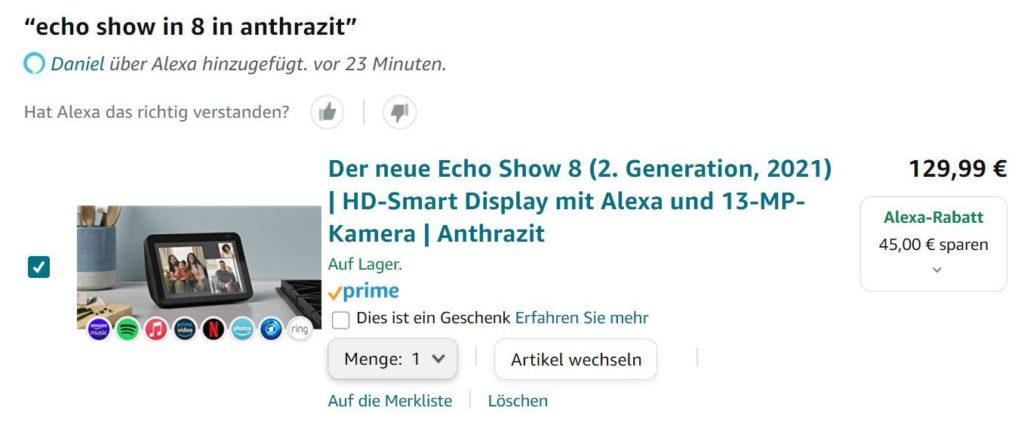 Alexa Echo Show 8 bestellen