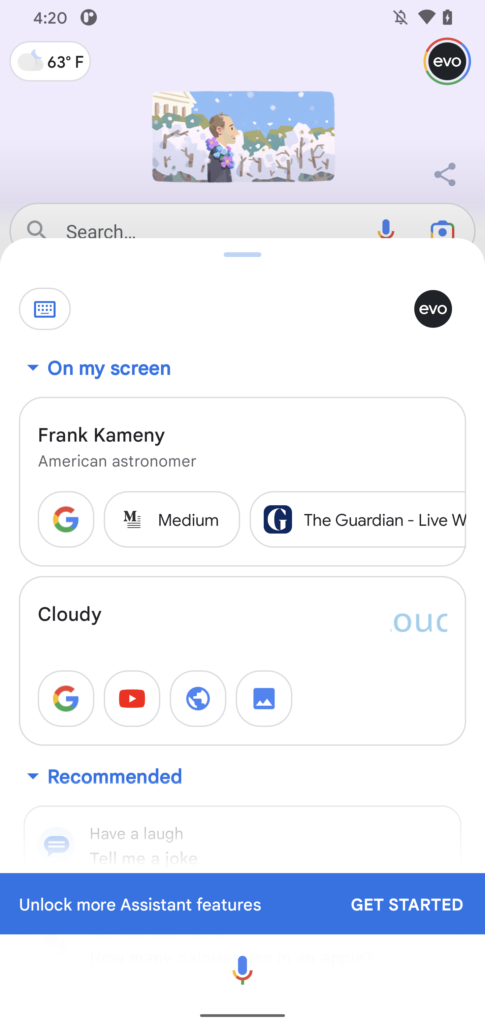 Google Assistant Dropdown Redesign