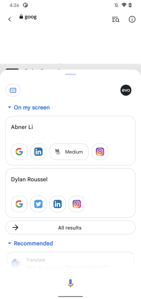 Google Assistant Dropdown